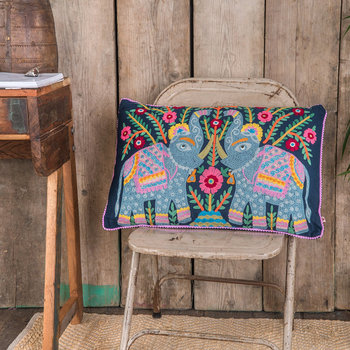 Elephant Embroidered Cushion - 40x60cm - Dark Navy