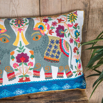 Elephant Embroidered Cushion - 40x60cm - White