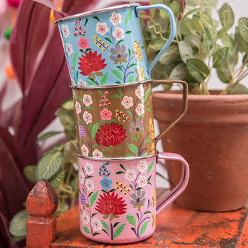 Hand Painted Floral Stainless Steel Mugs - Set of 3