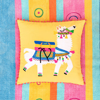 Llama Embroidered Pom Pom Cushion Cover - Yellow - 45x45cm