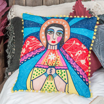 Mother Mary Embroidered Cushion Cover - 45x45cm
