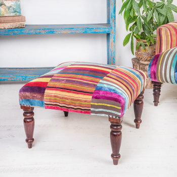 Multi Stripe Velvet Footstool