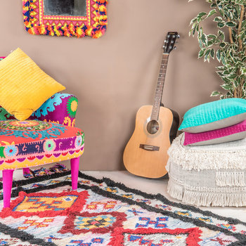 Neon Aztec Embroidered Armchair