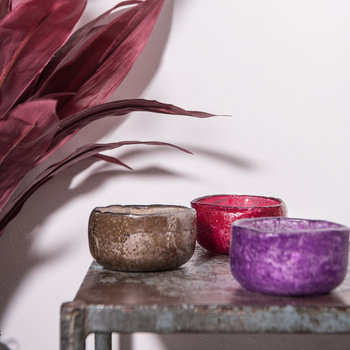 Raw Edge Foiled Votive - Set of 3 - Red/Brown/Purple