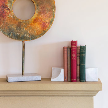 Carved Marble Bookends - Set of 2 - White