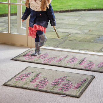 Floral Washable Recycled Door Mat - Pink - 65x85cm