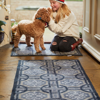 Tiles Washable Recycled Door Mat - Charcoal