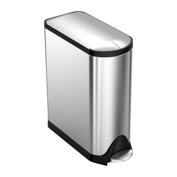Classic Butterfly Pedal Bin - Brushed Steel - 40L