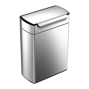 Rectangular Touch Bar Bin - Brushed Steel - 48L