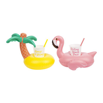 Inflatable Party Tropical Drinks Holder - Set of 2
