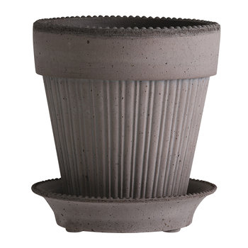 Simona Plant Pot and Saucer - Grey
