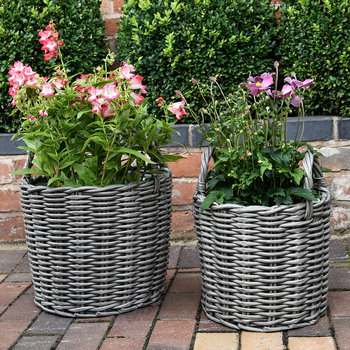 Polyrattan Planter - Set of 2 - Grey