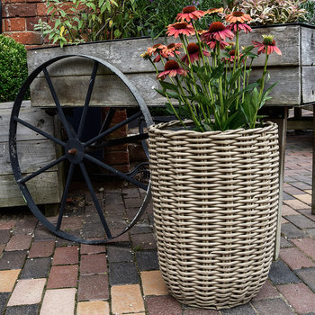 Polyrattan Tall Planter - Set of 2 - Natural