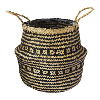 Seagrass Black Lined Basket Planter - 30cm