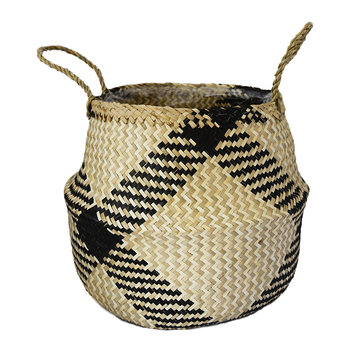 Seagrass Diamond Lined Basket Planter - 30cm