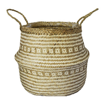 Seagrass White Lined Basket Planter - 30cm