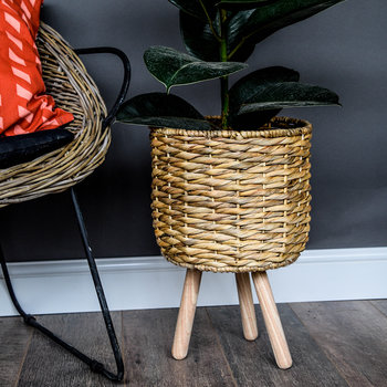 Water Hyacinth Lined Basket