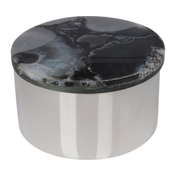 Agate Topped Silver Trinket Box - Black