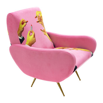 Upholstered Wooden Armchair - Pink Lipsticks