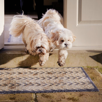 Dugdale Washable Recycled Door Mat - Brown/Blue - 65x85cm