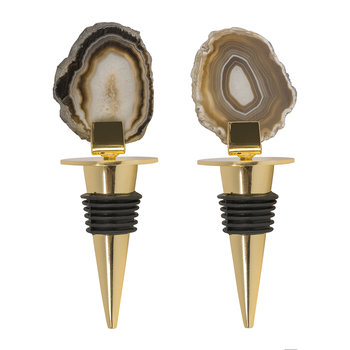 Dark Agate Bottle Stoppers - Set of 2