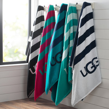 Cabana Logo Beach Towel - Snow/Navy