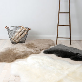 Sheepskin Area Rug - Grey - Quad