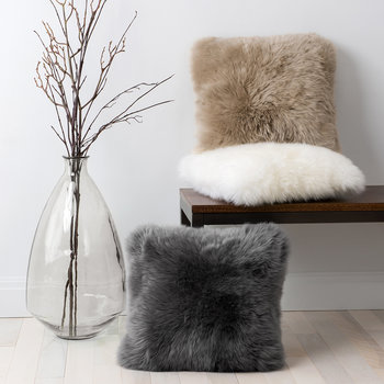 Sheepskin Cushion - Grey
