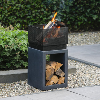 Clay Fiber Square Fire Bowl - Granite