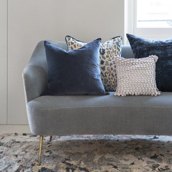 Paddy Velvet Cushion - 50x50cm - French Navy