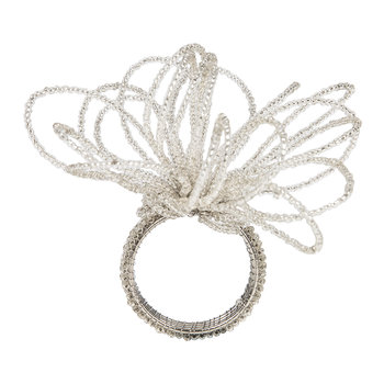 Beaded Flower Napkin Rings - Set of 4 - Silver