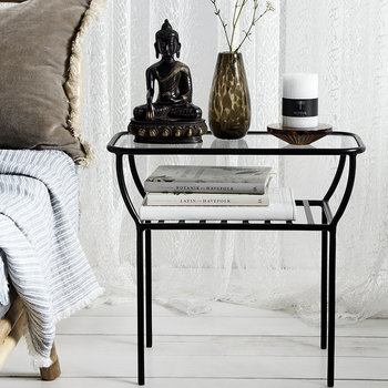 Glass Side Table - Black