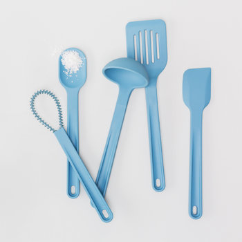 Silicone Starter Utensil Set - 8 Pieces - Blue