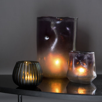 Ridged Glass Tealight Holder - Grey