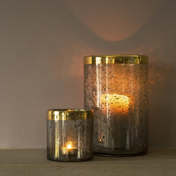 Speckled Glass Tealight Holder - Grey Ombre