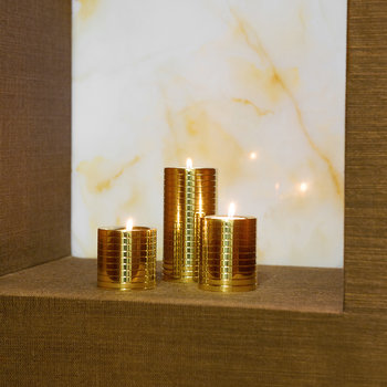 Etched Golden Tealight Holders - Set of 3