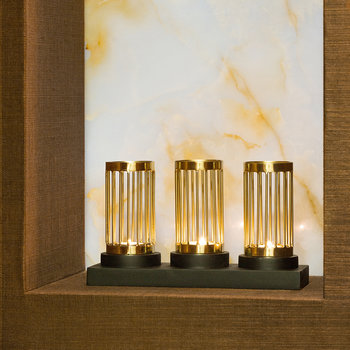 Golden Column Triple Tealight Holder
