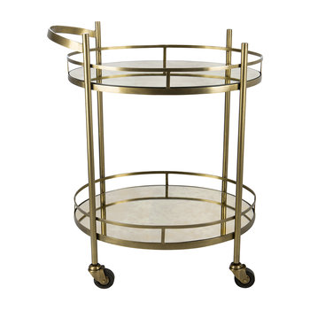 Antique Brass Mirror Drinks Trolley