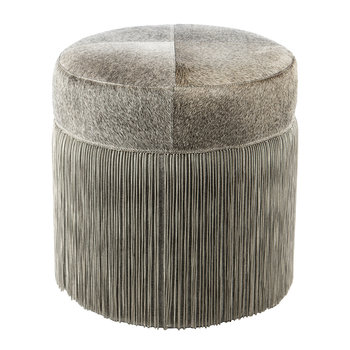 Cowhide Chain Pouf - Grey/Silver