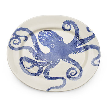 Creatures Extra Large Oval Blue Octopus Platter