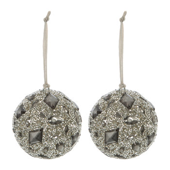 Beaded Bauble with Jewels - Set of 2 - Silver