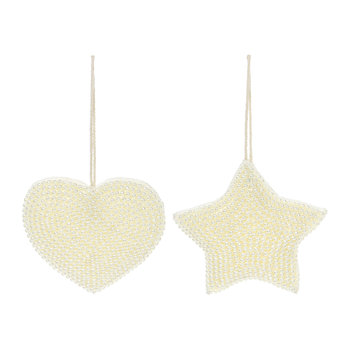 Beaded Embroidred Heart/Star Tree Decoration - Set of 2 - Ivory