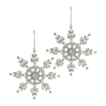 Beaded Snowflake Tree Decoration - Set of 2