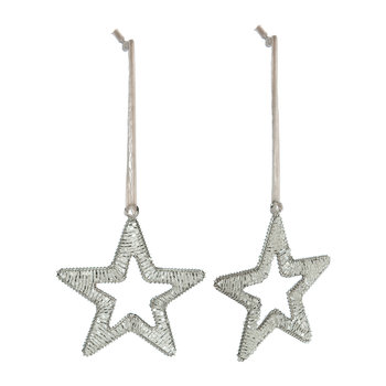 Beaded Star Tree Decoration - Set of 2 - Silver