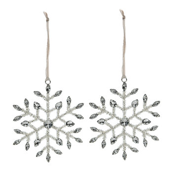 Beaded Wrapped Snowflake Tree Decoration - Set of 2 - Silver