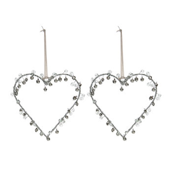 Beaded/Bells Heart Decoration - Set of 2