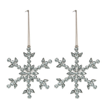 Beaded/Jewel Snowflake Tree Decoration - Set of 2