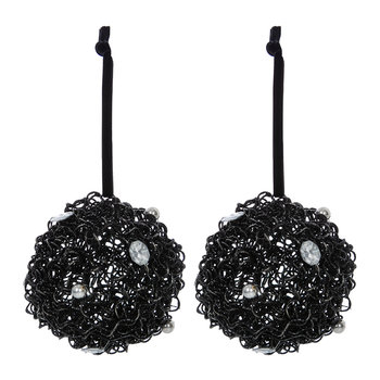 Glitter Wire Bauble with Crystals - Set of 2 - Gunmetal