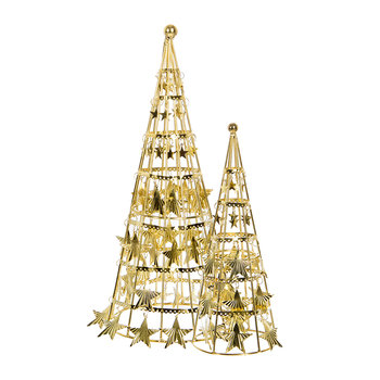 Star Cone with Hanging Star Ornament - Set of 2 - Gold