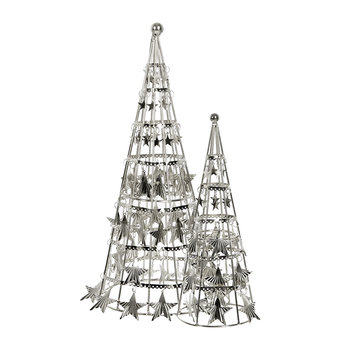 Star Cone with Hanging Star Ornament - Set of 2 - Silver